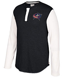 CCM Men's Columbus Blue Jackets Long Sleeve Henley Shirt