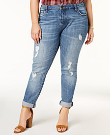 Kut from the Kloth Plus Size Katy Distressed Boyfriend Jeans