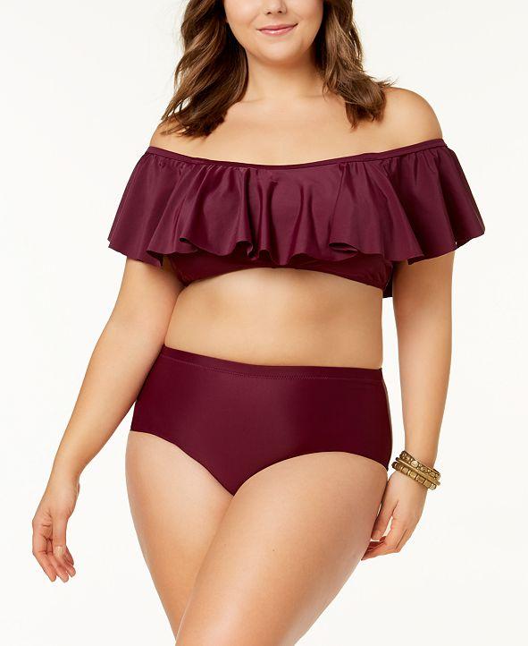 Raisins Curve Trendy Plus Sayulita Off-The-Shoulder Flounce Bikini Top & High-Waist Bikini Bottoms
