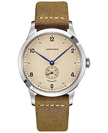 Men's Swiss Automatic Heritage 1945 Brown Leather Strap Watch 40mm