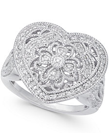 Diamond Fancy Filigree Heart Ring (1/7 ct. t.w.) in Sterling Silver