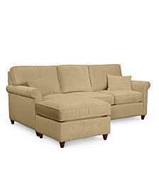 "Lidia 82"" Fabric 2-Pc. Chaise Reversible Sectional Sofa with Storage Ottoman - Custom Colors, Created for Macy's"