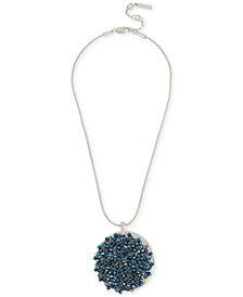 Kenneth Cole New York Silver-Tone Blue Bead Woven Pendant Necklace, Created for Macy's