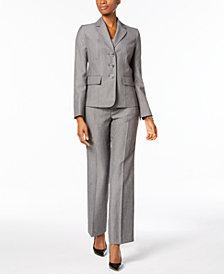 Le Suit Melange Three-Button Pantsuit