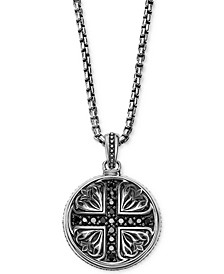 Men's Black Sapphire Medallion Pendant Necklace (5/8 ct. t.w.) in Sterling Silver