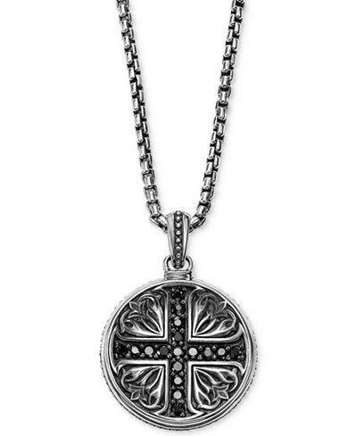 Scott Kay Men's Black Sapphire Medallion Pendant Necklace (5/8 ct. t.w.) in Sterling Silver