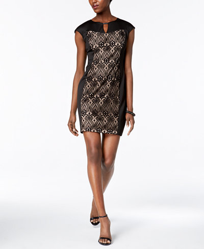 Connected Petite Lace-Inset Sheath Dress