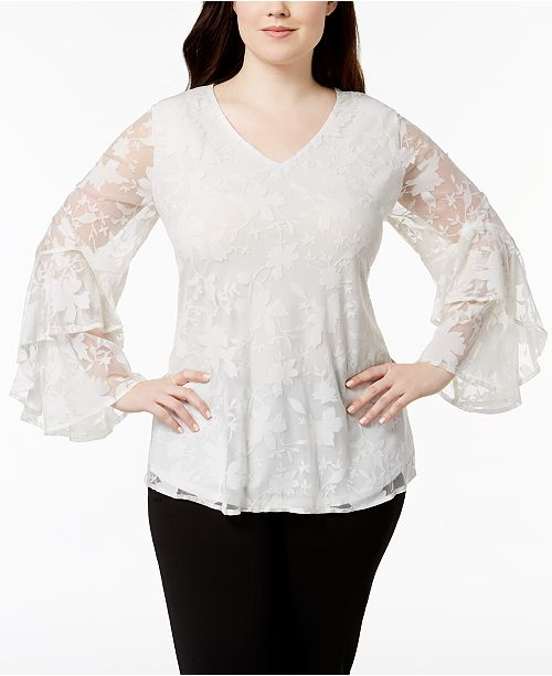 4a8eab5679d20b ... Alfani Plus Size Tiered Bell-Sleeve Lace Top, Created for Macy's ...