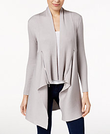 Love Scarlett Petite Zipper-Trim Long Cardigan, Created for Macy's