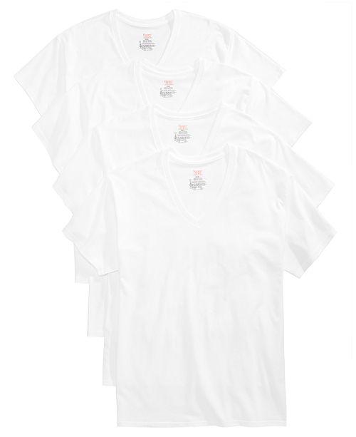 dc732f9f44d21 Hanes Men s 4-Pk. Platinum Stretch V-Neck T-Shirts   Reviews ...