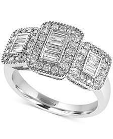 EFFY® Diamond Baguette Cluster Ring (5/8 ct. t.w.) in 14k White Gold