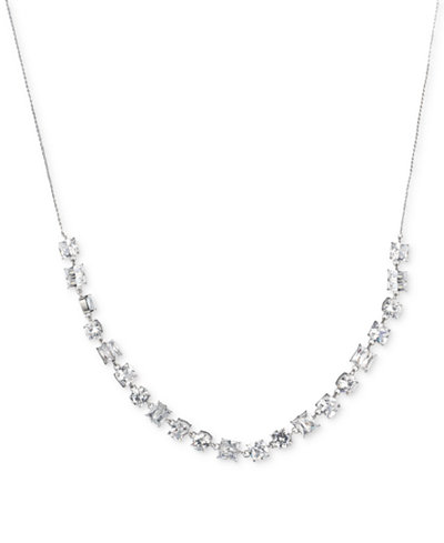 Carolee Silver-Tone Crystal Slider Necklace