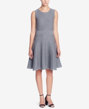SLEEVELESS TEXTURED KNIT FIT-&-FLARE DRESS