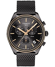 Men's Swiss Chronograph T-Classic PR 100 Gunmetal PVD Stainless Steel Mesh Bracelet Watch 41mm