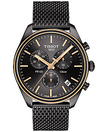 Tissot Men's Swiss Chronograph T-Classic PR 100 Gunmetal PVD Stainless Steel Mesh Bracelet Watch 41mm