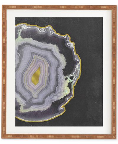 Deny Designs Emanuela Carratoni Black And Gold Agate Bamboo Framed Wall Art
