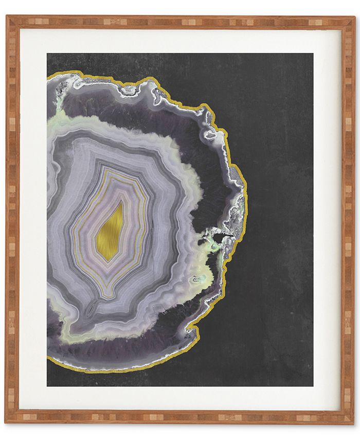 Deny Designs - Emanuela Carratoni Black And Gold Agate Bamboo Framed Wall Art