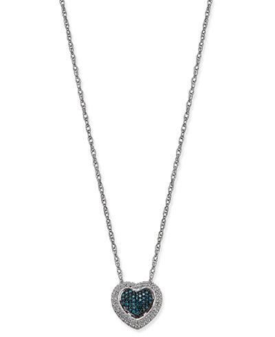 Diamond Heart Pendant Necklace (1/5 ct. t.w.) in Sterling Silver