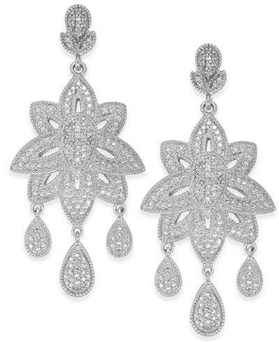 Diamond Dangle Drop Earrings (1/5 ct. t.w.) in Sterling Silver