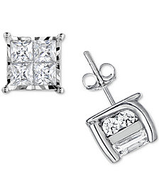 TruMiracle® Diamond Quad Stud Earrings (1/2 ct. t.w.) in 14k White Gold