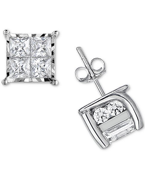 TruMiracle Diamond Quad Stud Earrings (1/2 ct. t.w.) in 14k White Gold