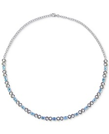 Swiss Blue Topaz (9 ct. t.w.) & Diamond Accent Collar Necklace in Sterling Silver