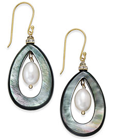 Paul & Pitü Naturally Two-Tone Pavé, Imitation Pearl & Gray Stone Drop Earrings