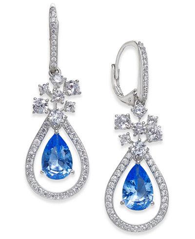 Danori Silver-Tone Crystal & Pavé Teardrop Orbital Drop Earrings, Created for Macy's
