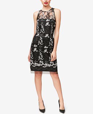 Betsey Johnson Embroidered Mesh Illusion Dress