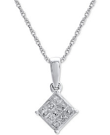 Diamond Cluster Pendant Necklace (1/7 ct. t.w.) in 14k White Gold