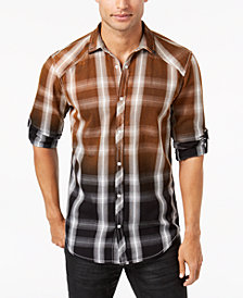 I.N.C. Men's Ombré Plaid Shirt, Created for Macy's