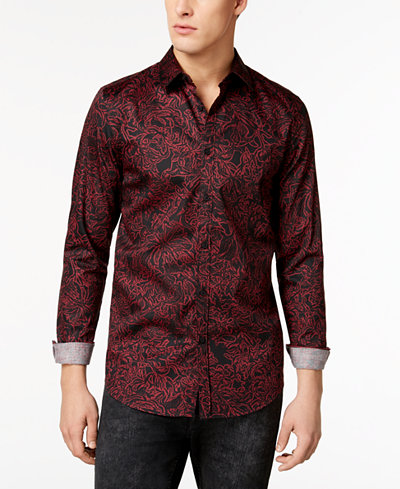 GUESS Men's Luxe Floral Shirt - Casual Button-Down Shirts - Men ...