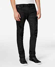 GUESS Men's Rocker Studded Skinny Fit Stretch Jeans