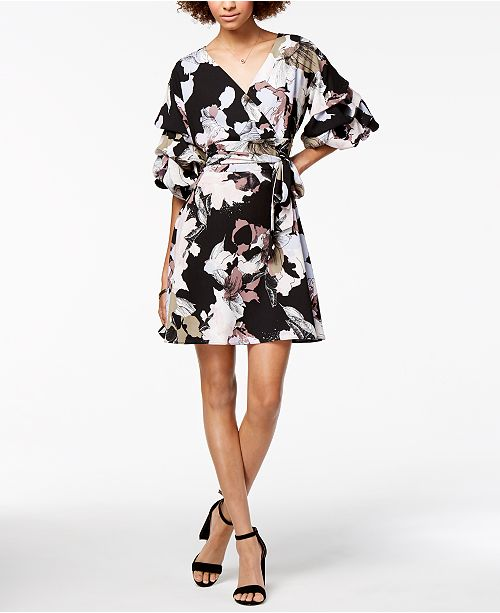 Bubble-Sleeve Wrap Dress, Created for Macy's