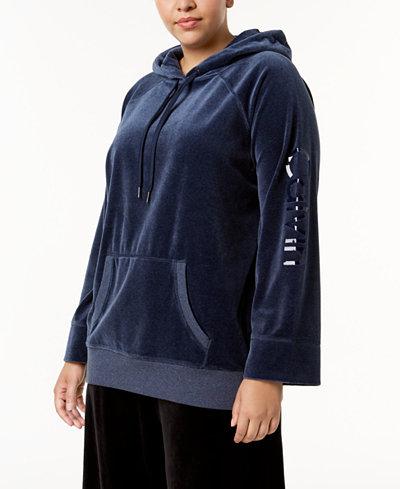 Calvin Klein Performance Plus Size Velour Logo Hoodie