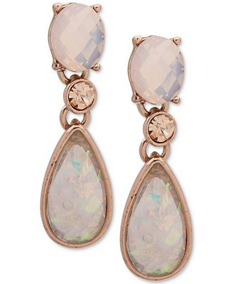 Anne Klein Rose Gold-Tone Pink Stone Drop Earrings, Created for Macy's