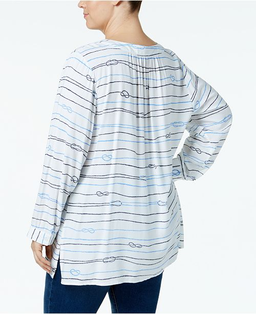 74a1cb9745c Tommy Hilfiger Plus Size Love Knot Lace-Up Tunic, Created for Macy's ...