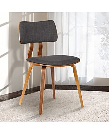 Jaguar Mid-Century Dining Chair in Walnut Wood and Green Fabric