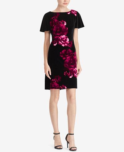 American Living Floral-Print Velvet Dress