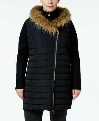 Calvin Klein Performance Plus Size Faux-Fur Trimmed Coat
