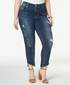 Seven7 Jeans Trendy Plus Size Ripped Skinny Jeans