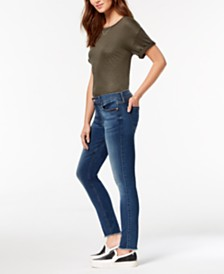 7 For All Mankind Frayed-Hem Ankle Skinny Jeans