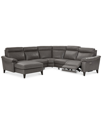 CLOSEOUT! Pirello 5-Pc. Leather Sectional Sofa with Chaise, 1 Power Recliner with Power Headrest and USB Port, Created for Macy's