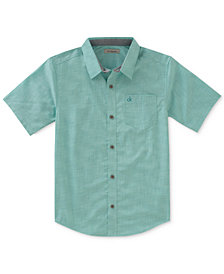 Calvin Klein Check-Print Chambray Shirt, Big Boys