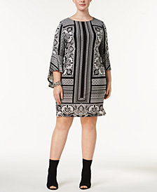 I.N.C. Plus Size Printed Shift Dress, Created for Macy's