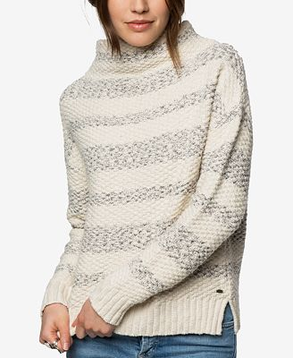 O'Neill Juniors' Cotton Livie Striped Mock-Neck Sweater - Juniors ...