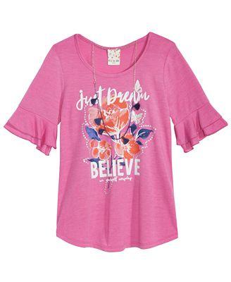 Belle Du Jour Bell-Sleeve Printed Top, Big Girls