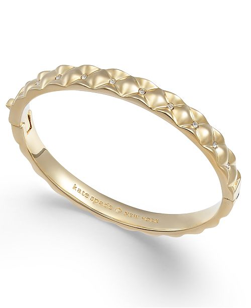66cb99ab53173 kate spade new york Gold-Tone Pavé Quilted Hinged Bangle Bracelet ...