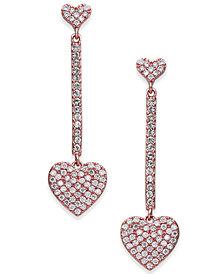 kate spade new york Rose Gold-Tone Pavé Heart Linear Drop Earrings