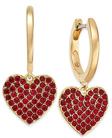 kate spade new york Rose Gold-Tone Pavé Heart Drop Earrings